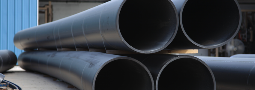 A stack of HDPE pipe