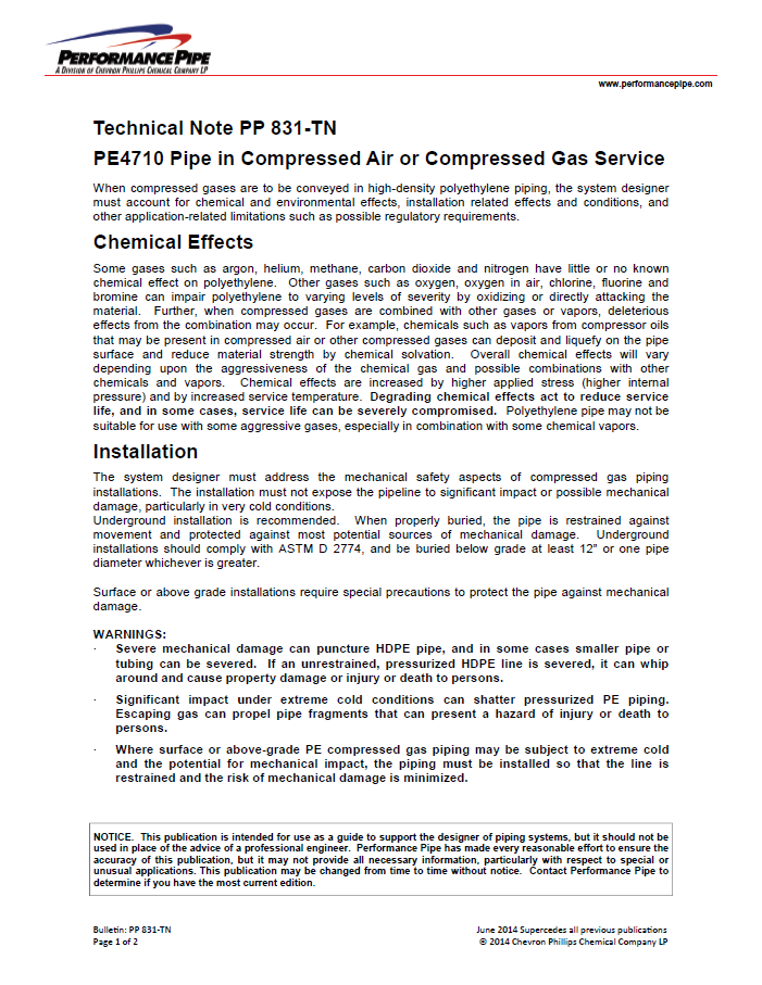 A technical note about PE4710 pip in compresed air or compressed gas