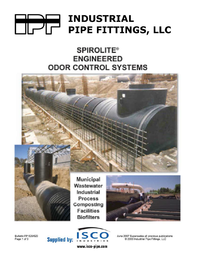 the cover page for spirolite engineered odor control systems