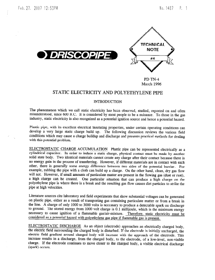 A technical note on static electricity and polyethylene pipes
