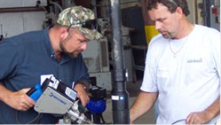 ISCO team members extrusion welding HDPE pipe