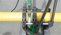 Yellow gas pipe fusion with McElroy machine