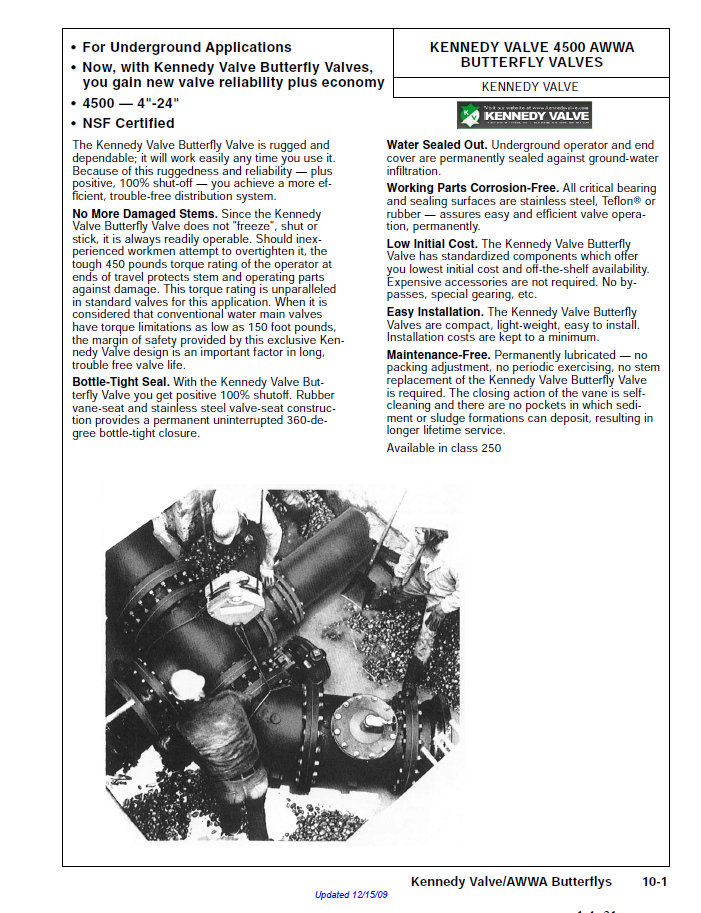 An informational sheet about Kennedy butterfly pipe valves