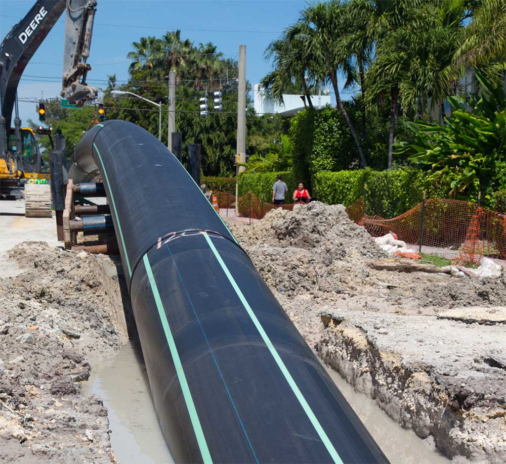 A Large HDPE pipe installed in Florida