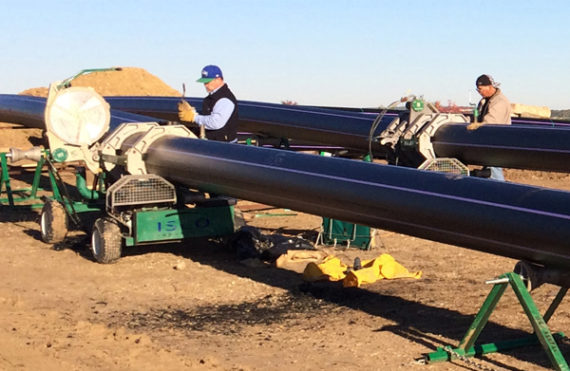 HDPE pipe being installed in Bell County