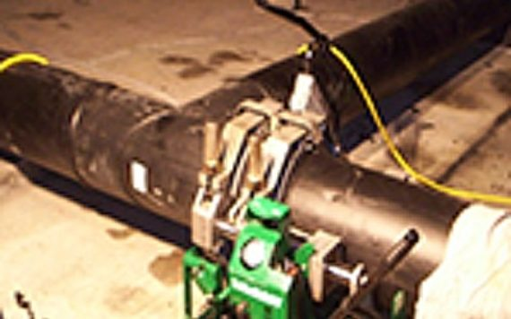 HDPE Pipe fusion in machine