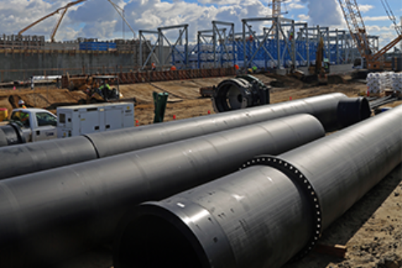HDPE pipe installed at a desalination plant