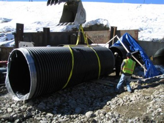 A large diameter HDPE pipe installation in Greenwood, Colorado