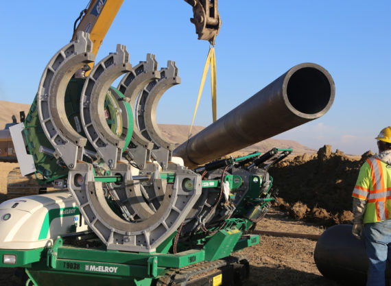 McElroy fusion machine with HDPE pipe for water pipeline in Duchesne County, Utah