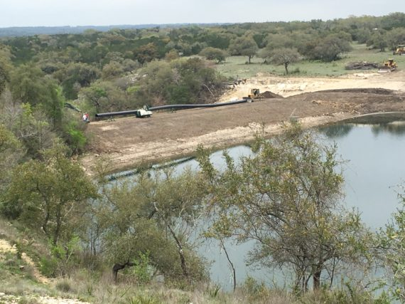 A spillway being repaired in Wimberley, Texas